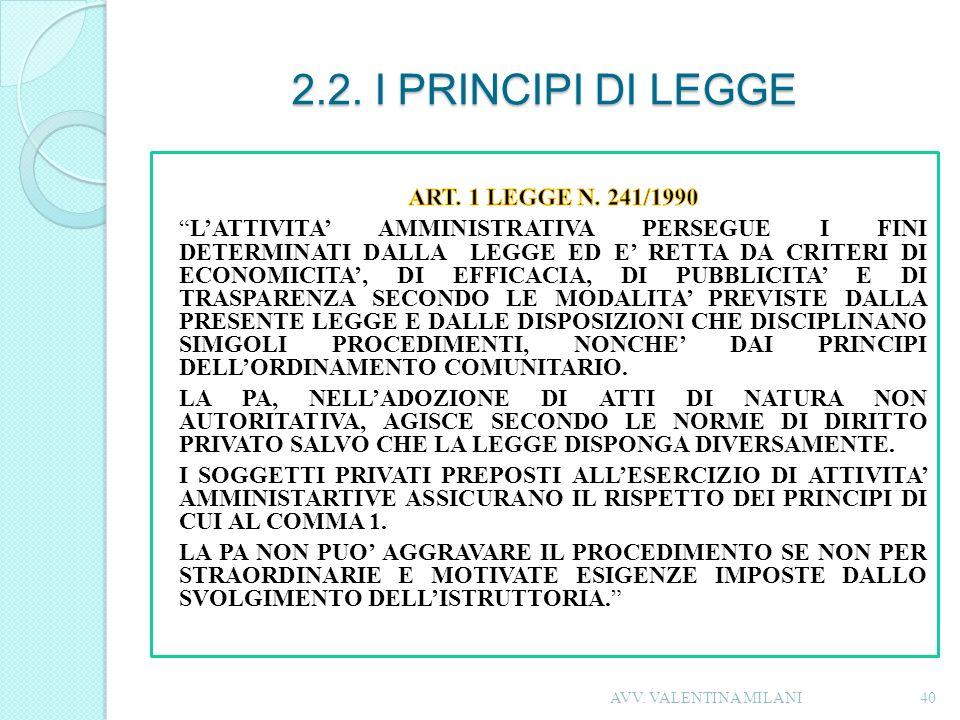 2.2. I PRINCIPI DI LEGGE 40AVV. VALENTINA MILANI