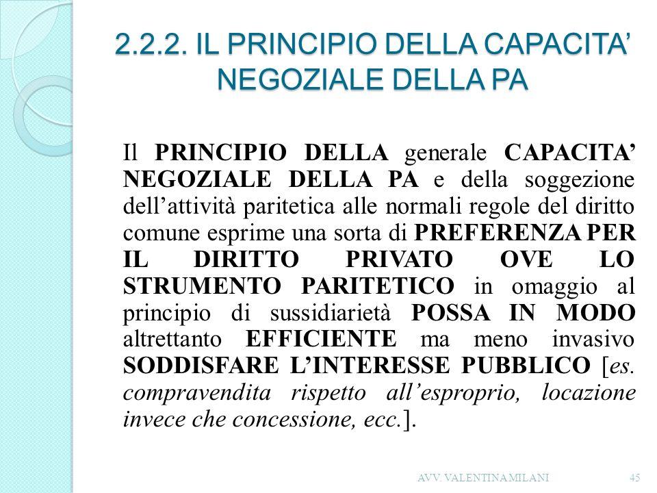 2.2.2. IL PRINCIPIO DELLA CAPACITA NEGOZIALE DELLA PA Il PRINCIPIO DELLA generale CAPACITA NEGOZIALE DELLA PA e della soggezione dellattività pariteti