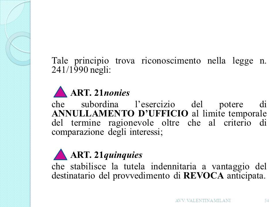 Tale principio trova riconoscimento nella legge n. 241/1990 negli: ART. 21nonies che subordina lesercizio del potere di ANNULLAMENTO DUFFICIO al limit