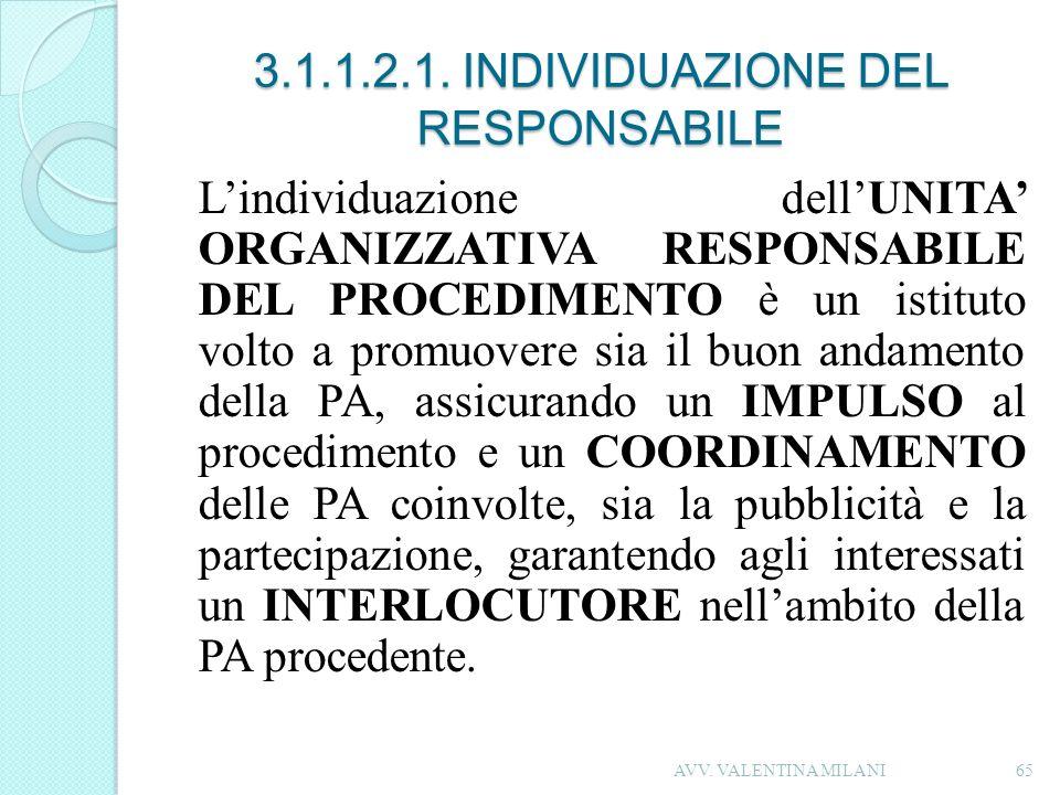 3.1.1.2.1. INDIVIDUAZIONE DEL RESPONSABILE Lindividuazione dellUNITA ORGANIZZATIVA RESPONSABILE DEL PROCEDIMENTO è un istituto volto a promuovere sia