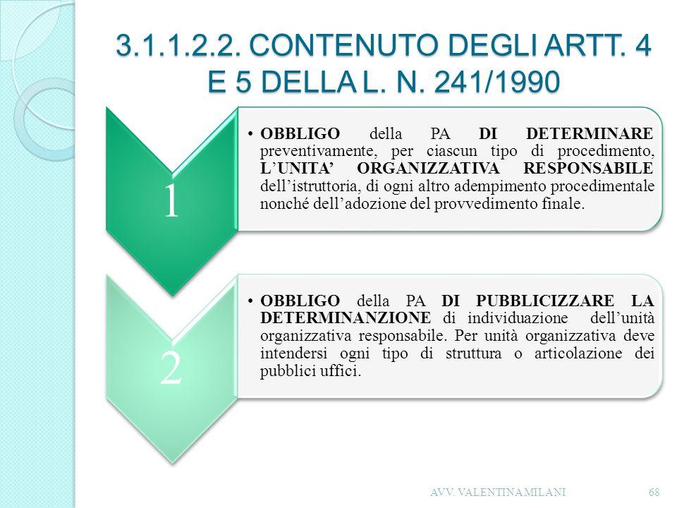 3.1.1.2.2. CONTENUTO DEGLI ARTT. 4 E 5 DELLA L. N. 241/1990 1 OBBLIGO della PA DI DETERMINARE preventivamente, per ciascun tipo di procedimento, LUNIT