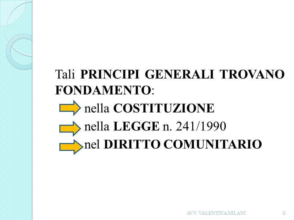 Tali PRINCIPI GENERALI TROVANO FONDAMENTO: nella COSTITUZIONE nella LEGGE n. 241/1990 nel DIRITTO COMUNITARIO 8AVV. VALENTINA MILANI