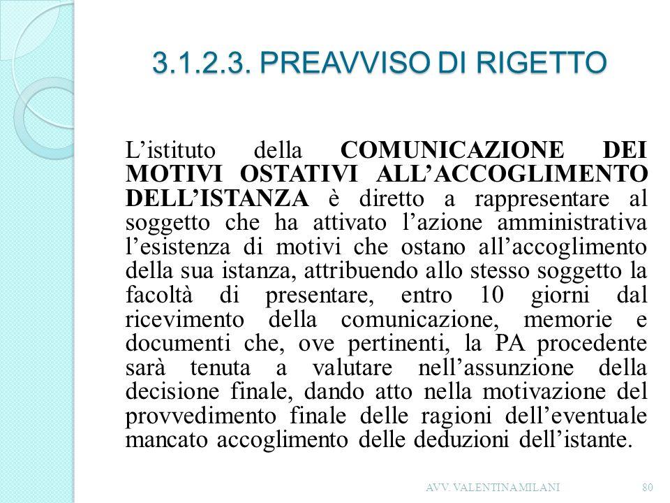 3.1.2.3. PREAVVISO DI RIGETTO Listituto della COMUNICAZIONE DEI MOTIVI OSTATIVI ALLACCOGLIMENTO DELLISTANZA è diretto a rappresentare al soggetto che