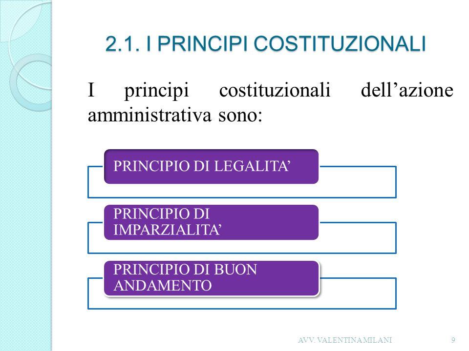 2.1. I PRINCIPI COSTITUZIONALI I principi costituzionali dellazione amministrativa sono: 9 PRINCIPIO DI LEGALITA PRINCIPIO DI IMPARZIALITA PRINCIPIO D