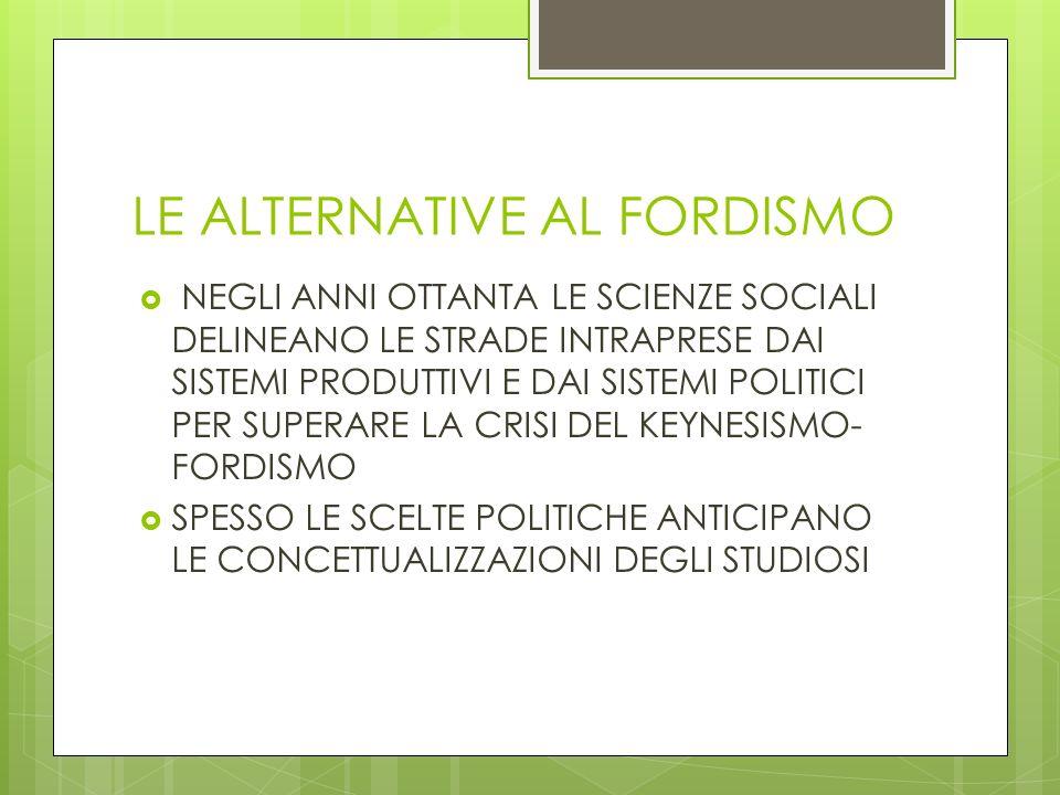 LE ALTERNATIVE AL FORDISMO NEGLI ANNI OTTANTA LE SCIENZE SOCIALI DELINEANO LE STRADE INTRAPRESE DAI SISTEMI PRODUTTIVI E DAI SISTEMI POLITICI PER SUPE
