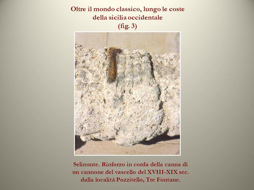 Oltre il mondo classico, lungo le coste della sicilia occidentale (fig. 3) Selinunte. Rinforzo in corda della canna di un cannone del vascello del XVI