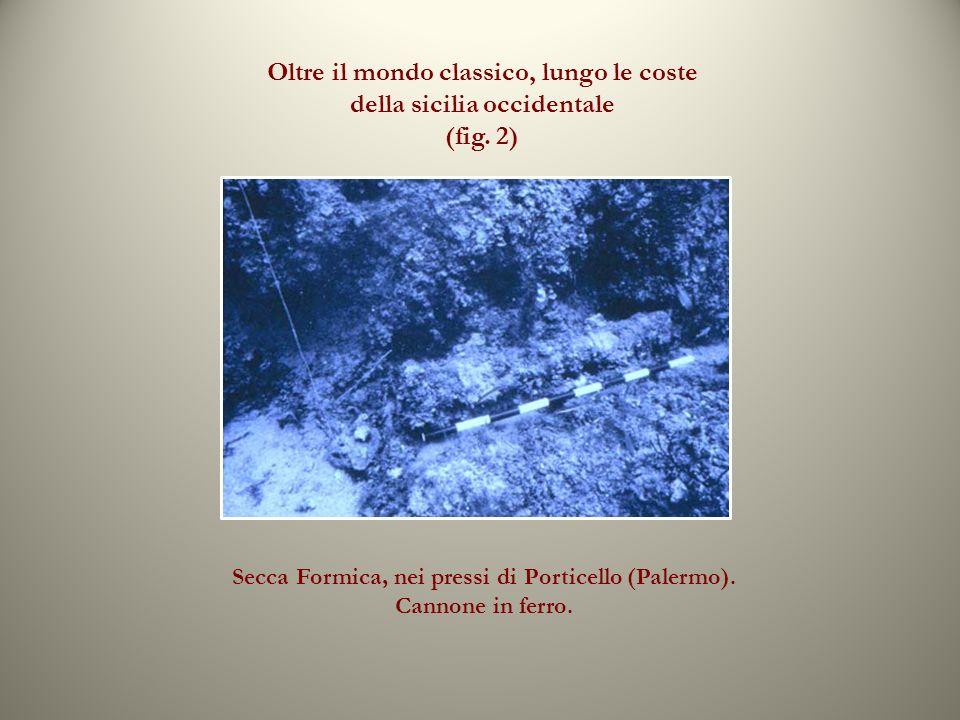 Oltre il mondo classico, lungo le coste della sicilia occidentale (fig. 2) Secca Formica, nei pressi di Porticello (Palermo). Cannone in ferro.