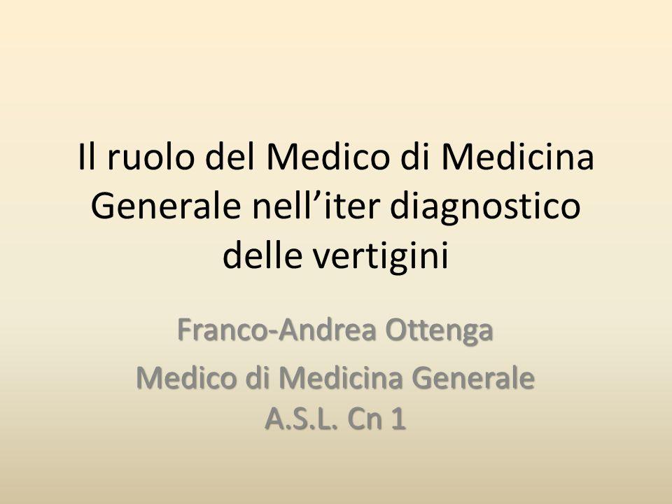 Il ruolo del Medico di Medicina Generale nelliter diagnostico delle vertigini Franco-Andrea Ottenga Medico di Medicina Generale A.S.L. Cn 1
