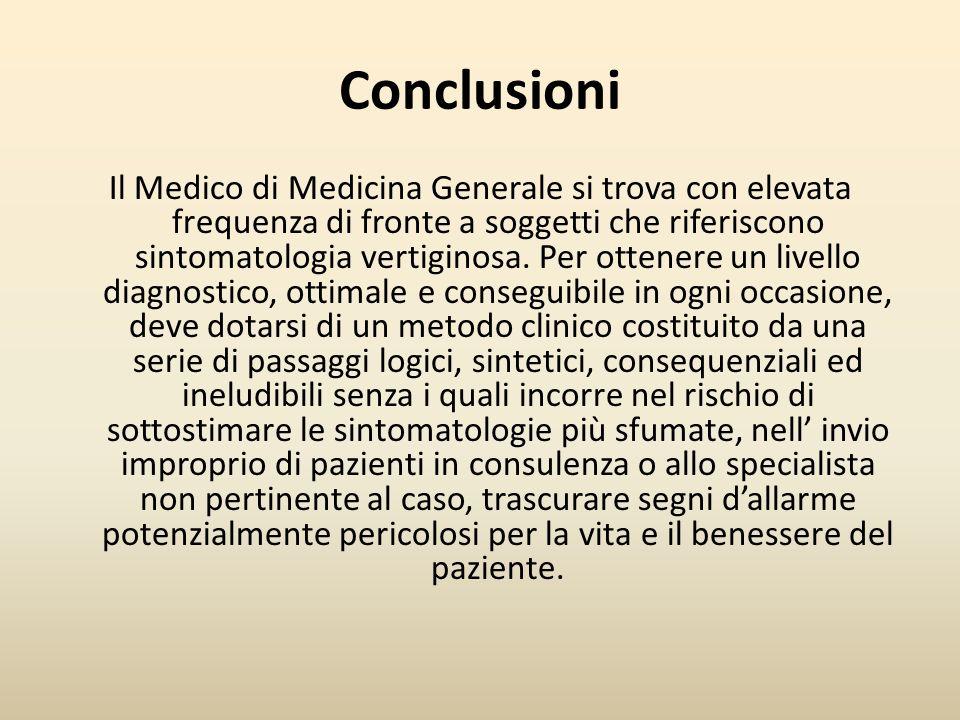 Conclusioni Il Medico di Medicina Generale si trova con elevata frequenza di fronte a soggetti che riferiscono sintomatologia vertiginosa. Per ottener