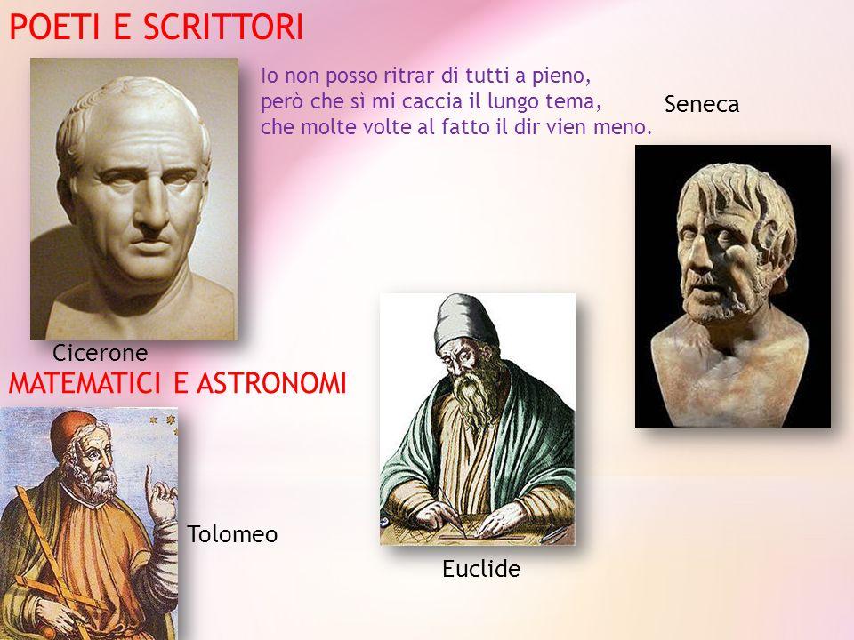 POETI E SCRITTORI Cicerone Seneca MATEMATICI E ASTRONOMI Tolomeo Euclide Io non posso ritrar di tutti a pieno, però che sì mi caccia il lungo tema, ch