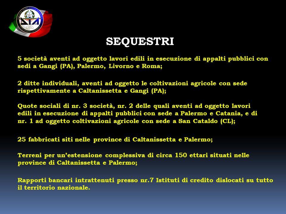 SEQUESTRI 5 società aventi ad oggetto lavori edili in esecuzione di appalti pubblici con sedi a Gangi (PA), Palermo, Livorno e Roma; 2 ditte individua