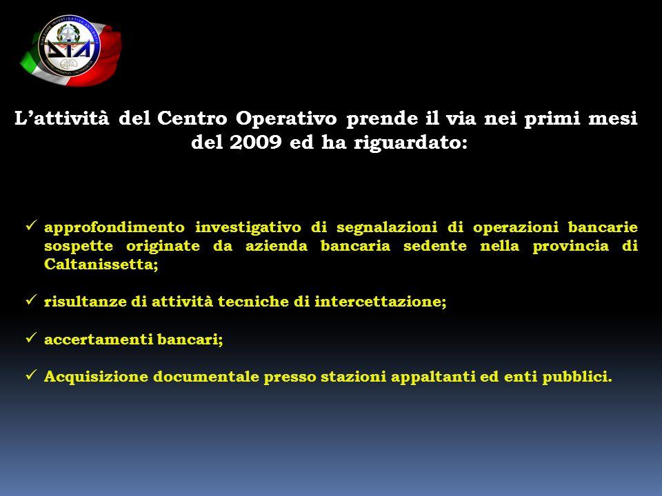Lattività del Centro Operativo prende il via nei primi mesi del 2009 ed ha riguardato: approfondimento investigativo di segnalazioni di operazioni ban
