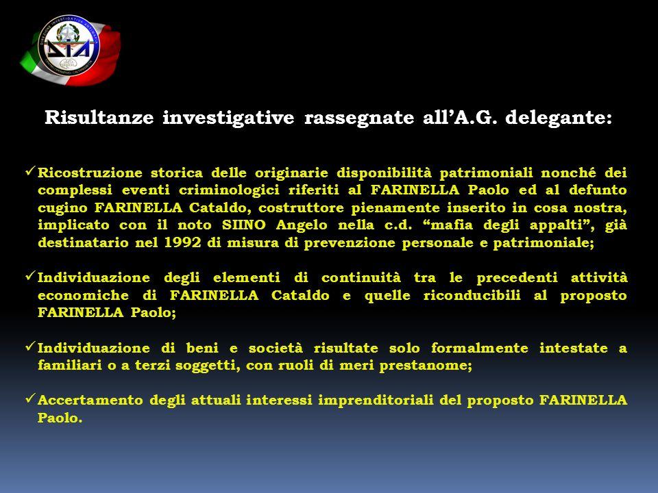 Risultanze investigative rassegnate allA.G. delegante: Ricostruzione storica delle originarie disponibilità patrimoniali nonché dei complessi eventi c