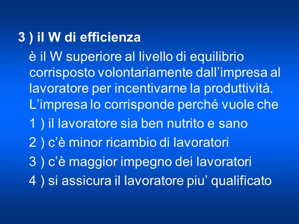 3 ) il W di efficienza è il W superiore al livello di equilibrio corrisposto volontariamente dallimpresa al lavoratore per incentivarne la produttività.