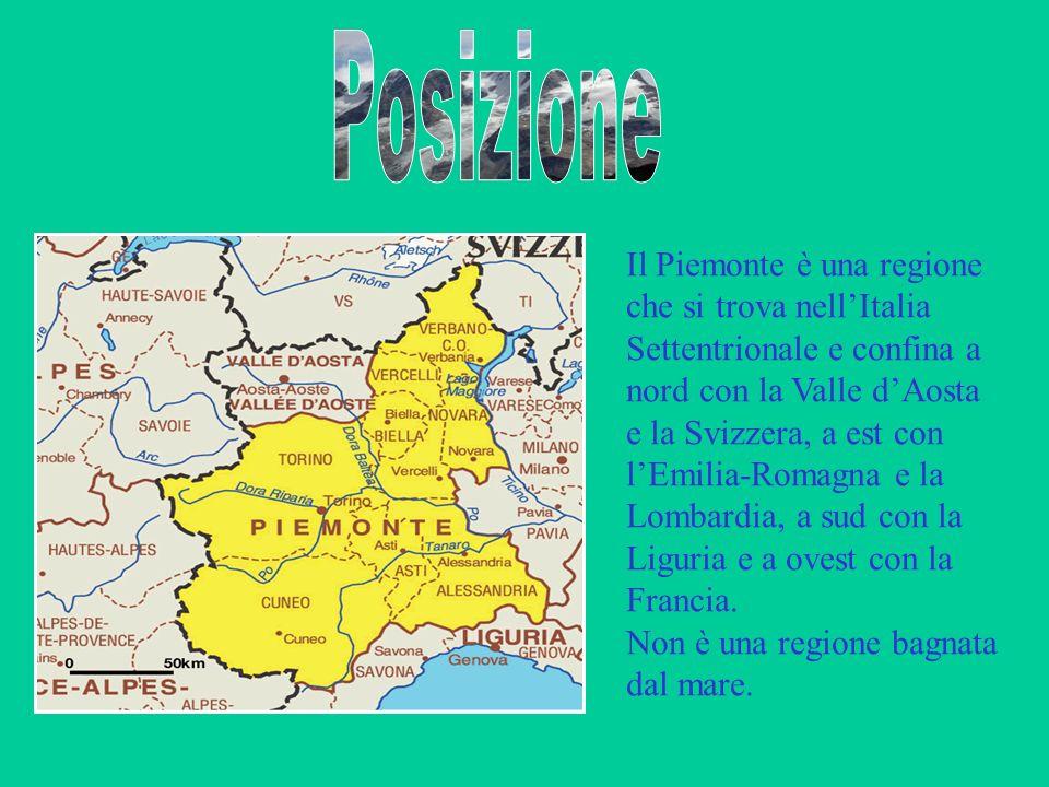 Il Piemonte è una regione che si trova nellItalia Settentrionale e confina a nord con la Valle dAosta e la Svizzera, a est con lEmilia-Romagna e la Lo