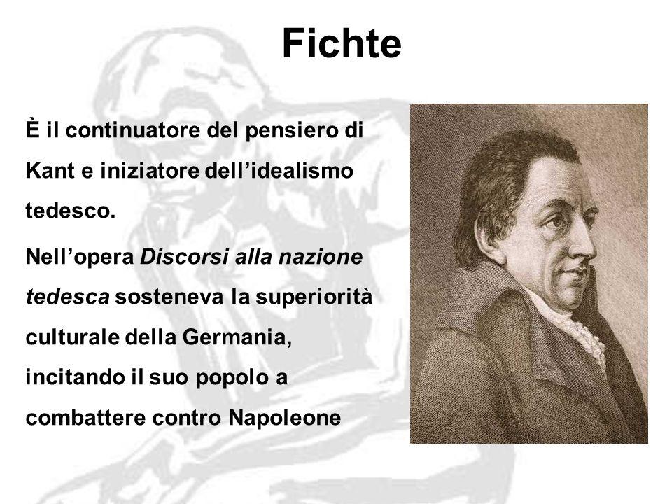 Fichte È il continuatore del pensiero di Kant e iniziatore dellidealismo tedesco.