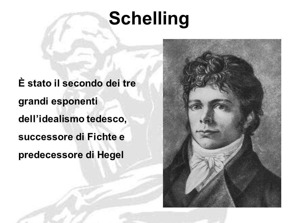 Schelling È stato il secondo dei tre grandi esponenti dellidealismo tedesco, successore di Fichte e predecessore di Hegel