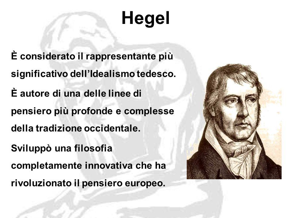 Hegel È considerato il rappresentante più significativo dellIdealismo tedesco.