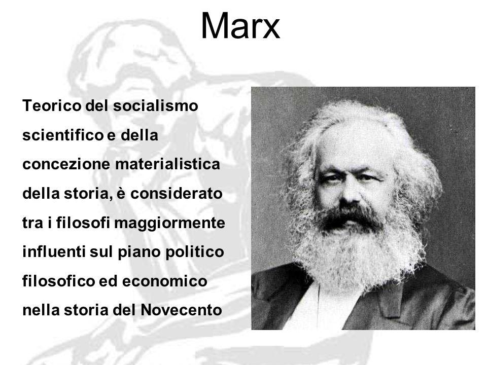 Marx Teorico del socialismo scientifico e della concezione materialistica della storia, è considerato tra i filosofi maggiormente influenti sul piano politico filosofico ed economico nella storia del Novecento