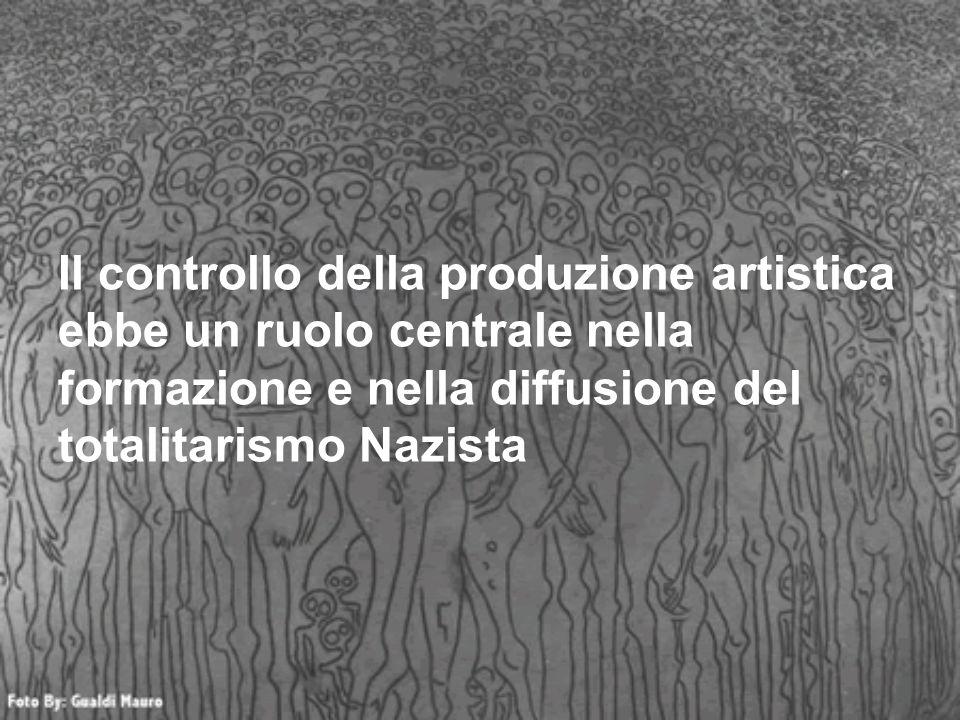 Il controllo della produzione artistica ebbe un ruolo centrale nella formazione e nella diffusione del totalitarismo Nazista
