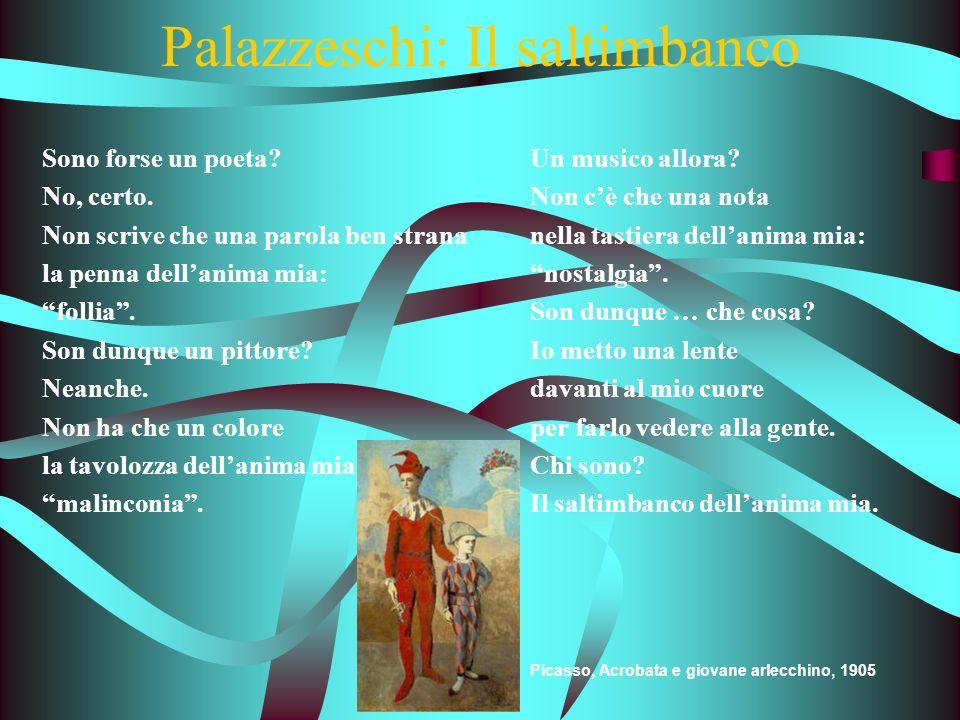 Palazzeschi: Il saltimbanco Sono forse un poeta.No, certo.