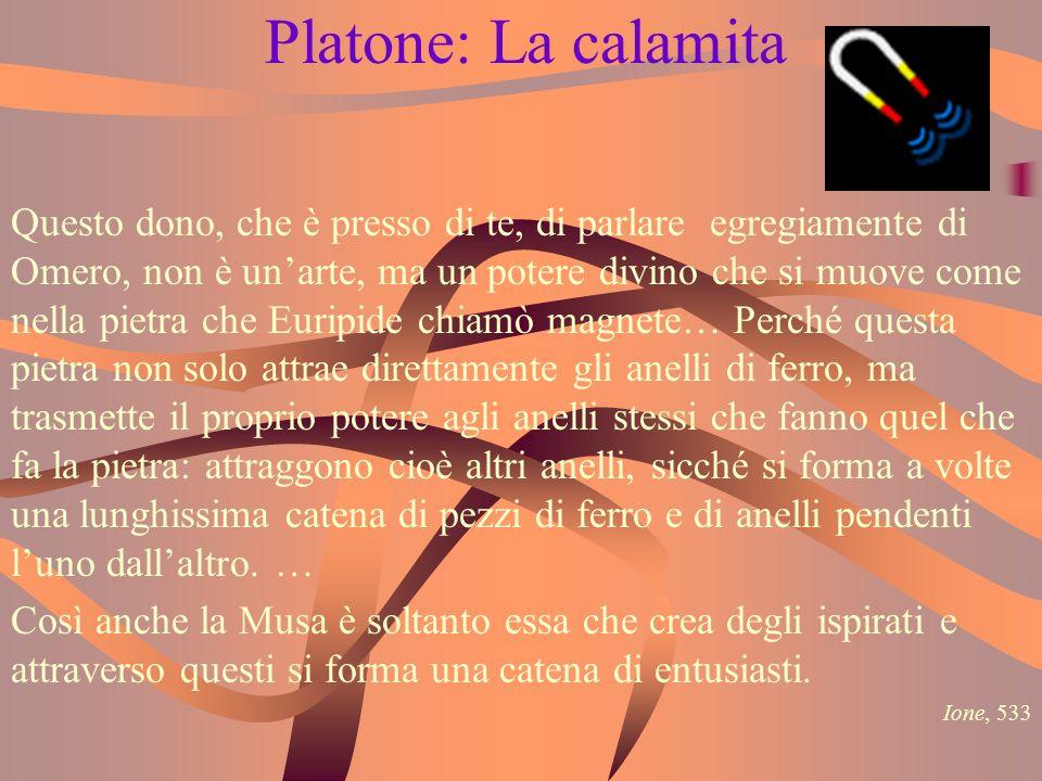 Platone: La calamita Questo dono, che è presso di te, di parlare egregiamente di Omero, non è unarte, ma un potere divino che si muove come nella piet