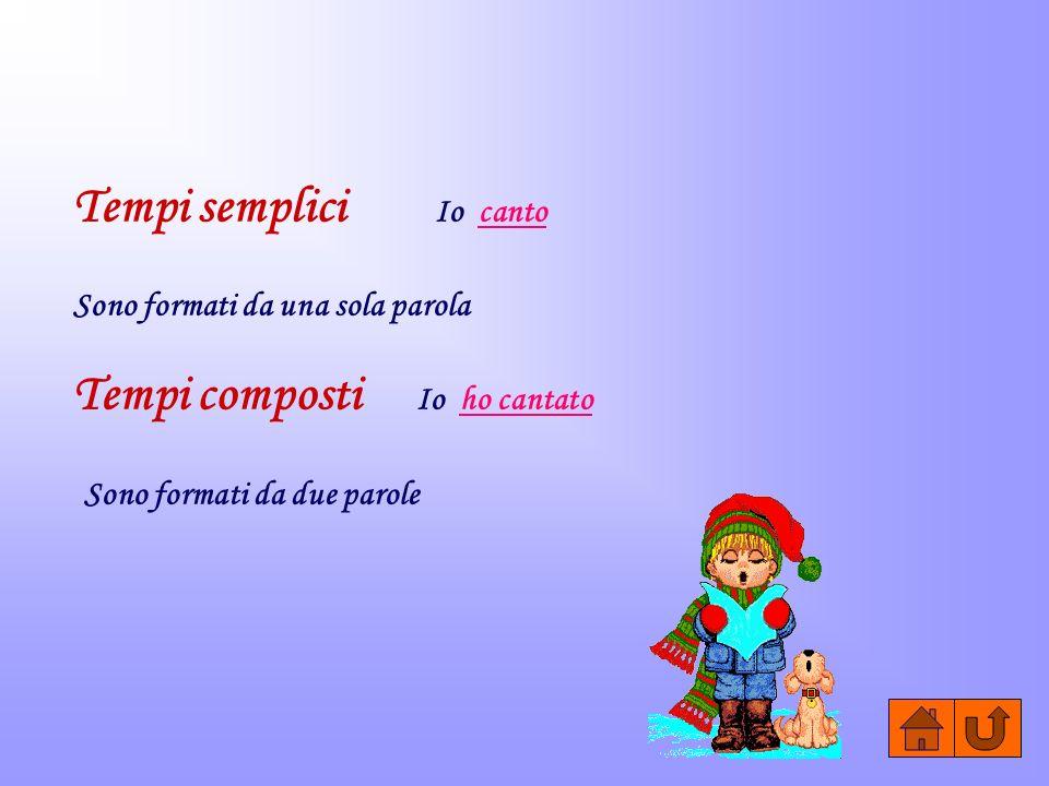 Tempi semplici Io canto Sono formati da una sola parola Tempi composti Io ho cantato Sono formati da due parole