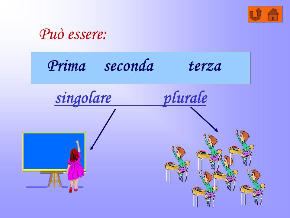 Può essere: Prima seconda terza singolare pluralesingolare plurale