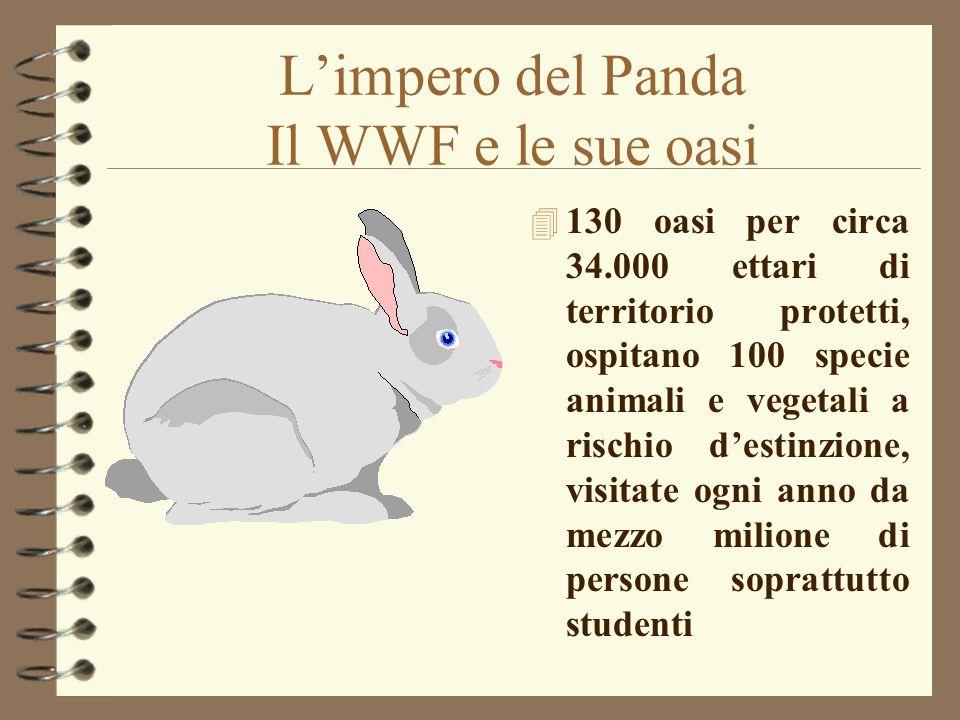 Limpero del Panda Il WWF e le sue oasi 4 130 oasi per circa 34.000 ettari di territorio protetti, ospitano 100 specie animali e vegetali a rischio des