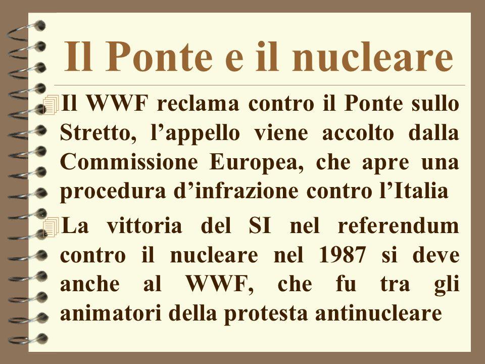 Il Ponte e il nucleare 4 Il WWF reclama contro il Ponte sullo Stretto, lappello viene accolto dalla Commissione Europea, che apre una procedura dinfra
