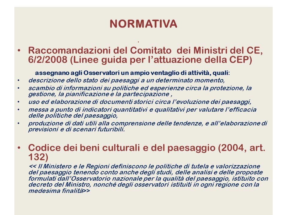 NORMATIVA Raccomandazioni del Comitato dei Ministri del CE, 6/2/2008 (Linee guida per lattuazione della CEP) assegnano agli Osservatori un ampio venta