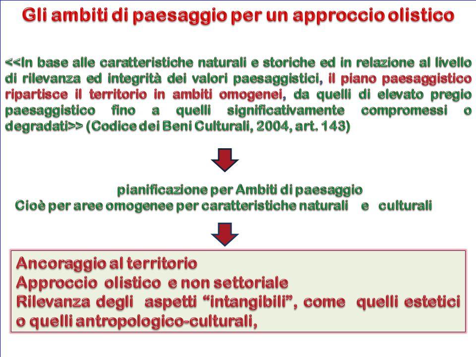 Il piano paesaggistico attribuisce a ciascun ambito obiettivi di qualità paesaggistica (Codice, 2004, art.
