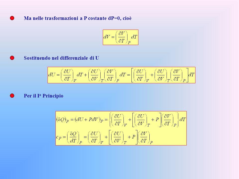 Nellultima equazione abbiamo immaginato, in qualche maniera di aver effettuato due trasformazioni infinitesime: una isocora nella quale la temperatura varia di dT ed una isoterma in cui il volume varia di dV.