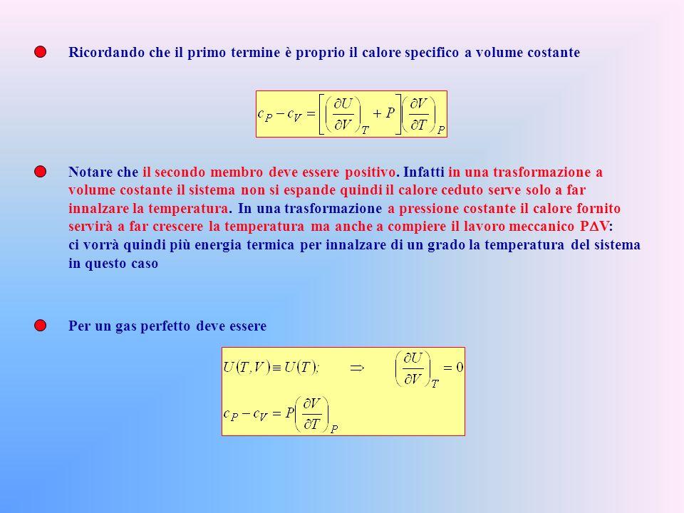 Ma nelle trasformazioni a P costante dP=0, cioè Sostituendo nel differenziale di U Per il I o Principio