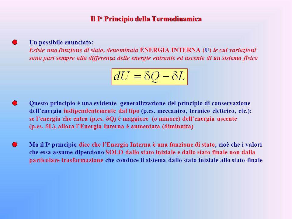 Un possibile enunciato: Esiste una funzione di stato, denominata ENERGIA INTERNA (U) le cui variazioni sono pari sempre alla differenza delle energie entrante ed uscente di un sistema fisico Questo principio è una evidente generalizzazione del principio di conservazione dellenergia indipendentemente dal tipo (p.es.