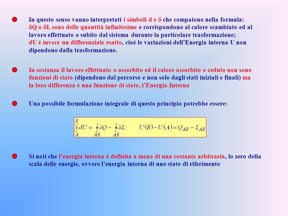 Un possibile enunciato: Esiste una funzione di stato, denominata ENERGIA INTERNA (U) le cui variazioni sono pari sempre alla differenza delle energie