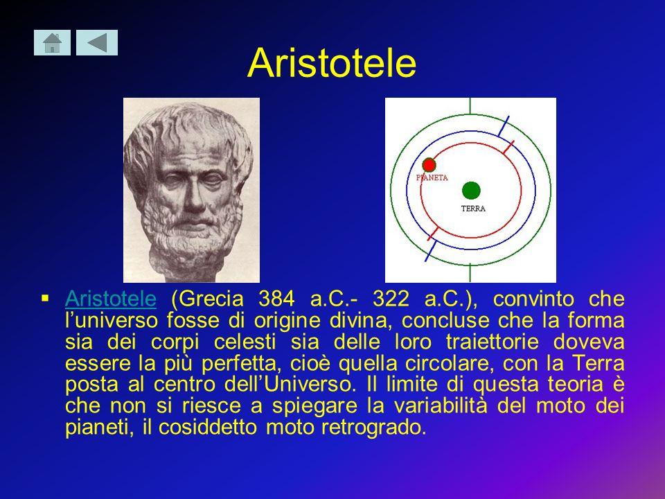 Aristotele Aristotele (Grecia 384 a.C.- 322 a.C.), convinto che luniverso fosse di origine divina, concluse che la forma sia dei corpi celesti sia del