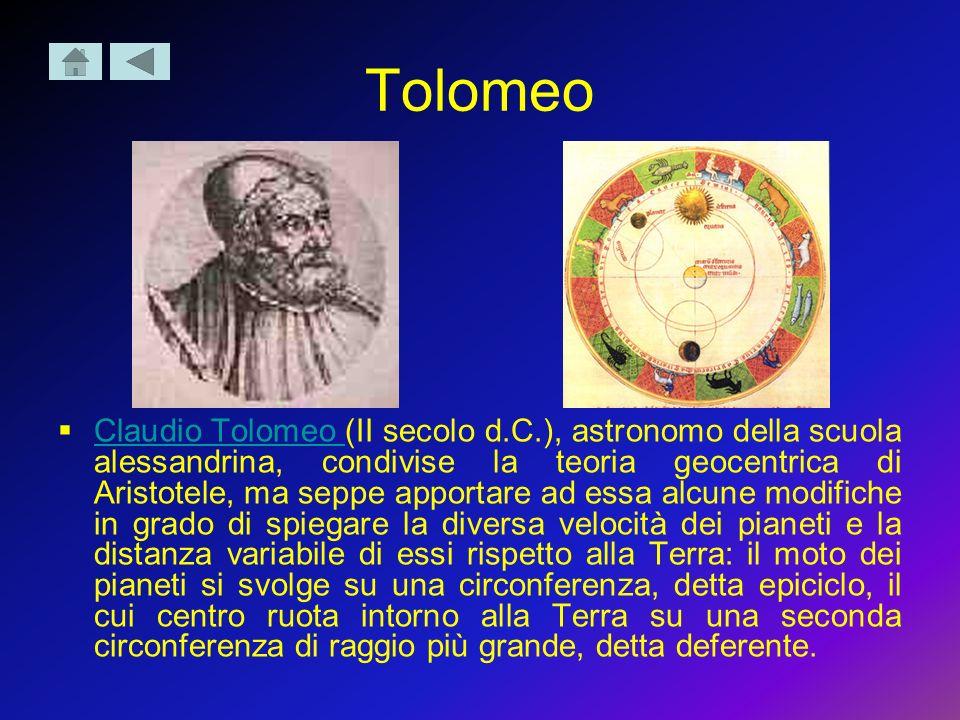 Tolomeo Claudio Tolomeo (II secolo d.C.), astronomo della scuola alessandrina, condivise la teoria geocentrica di Aristotele, ma seppe apportare ad es
