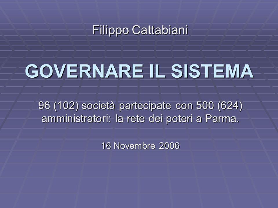 GOVERNARE IL SISTEMA 96 (102) società partecipate con 500 (624) amministratori: la rete dei poteri a Parma.