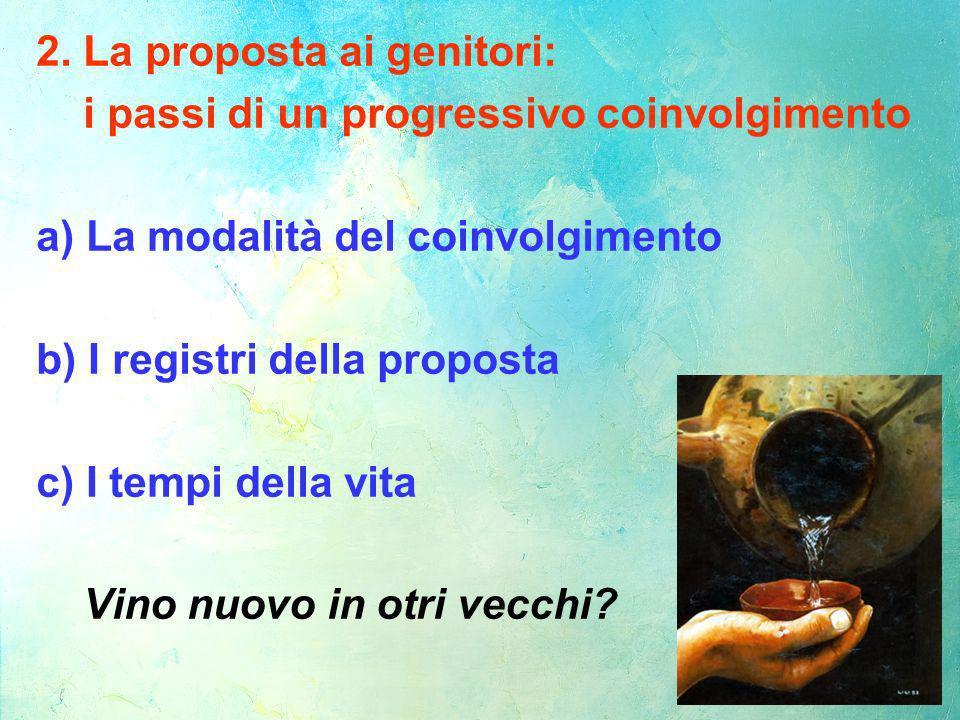 2. La proposta ai genitori: i passi di un progressivo coinvolgimento a) La modalità del coinvolgimento b) I registri della proposta c) I tempi della v