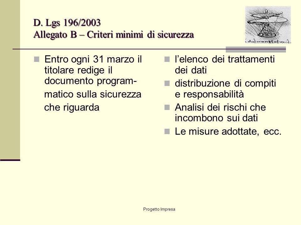 Progetto Impresa D. Lgs 196/2003 Allegato B – Criteri minimi di sicurezza Entro ogni 31 marzo il titolare redige il documento program- matico sulla si