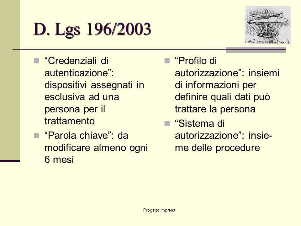 Progetto Impresa D. Lgs 196/2003 Credenziali di autenticazione: dispositivi assegnati in esclusiva ad una persona per il trattamento Parola chiave: da