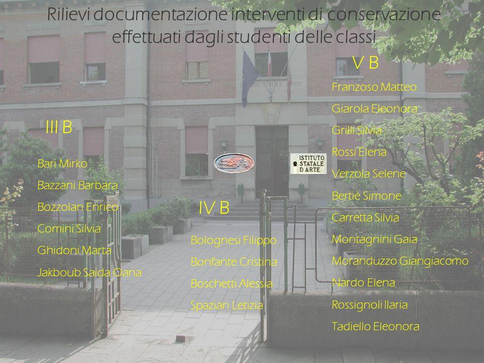 Rilievi documentazione interventi di conservazione effettuati dagli studenti delle classi IV B III B V B Bari Mirko Bazzani Barbara Bozzolan Enrico Co