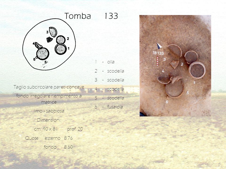 Taglio subcircolare pareti concave fondo irregolare riempimento a matrice limo - sabbiosa Dimensioni: cm. 90 x 81 prof. 20 Quote: esterno 8.76 fondo 8
