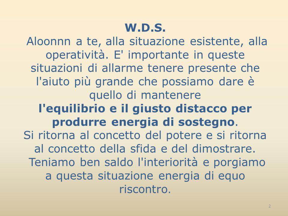 W.D.S. Aloonnn a te, alla situazione esistente, alla operatività.