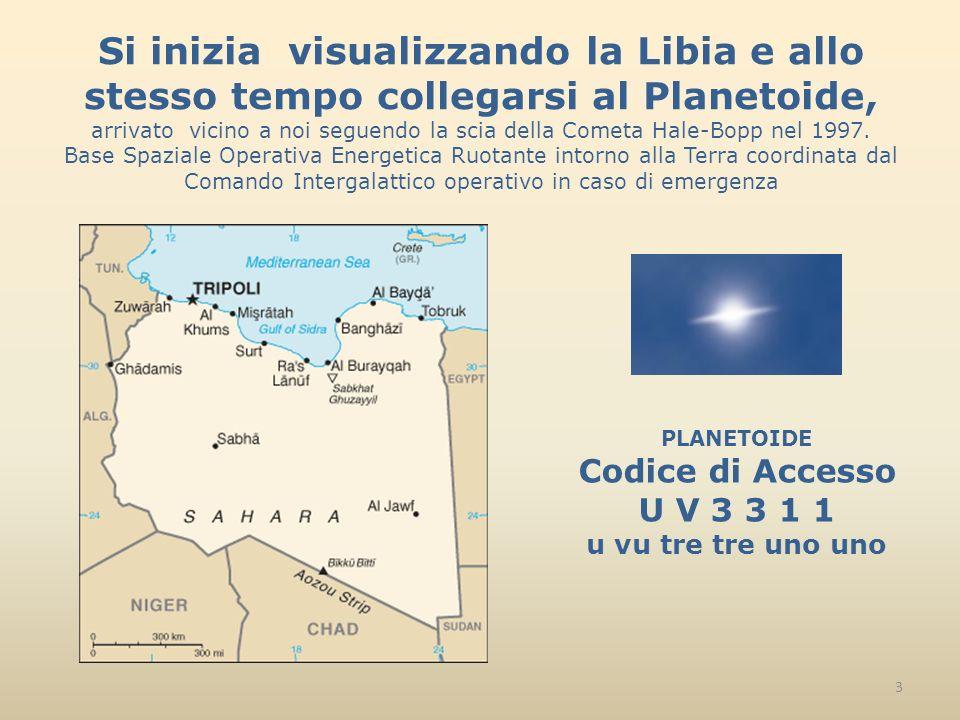 Si inizia visualizzando la Libia e allo stesso tempo collegarsi al Planetoide, arrivato vicino a noi seguendo la scia della Cometa Hale-Bopp nel 1997.