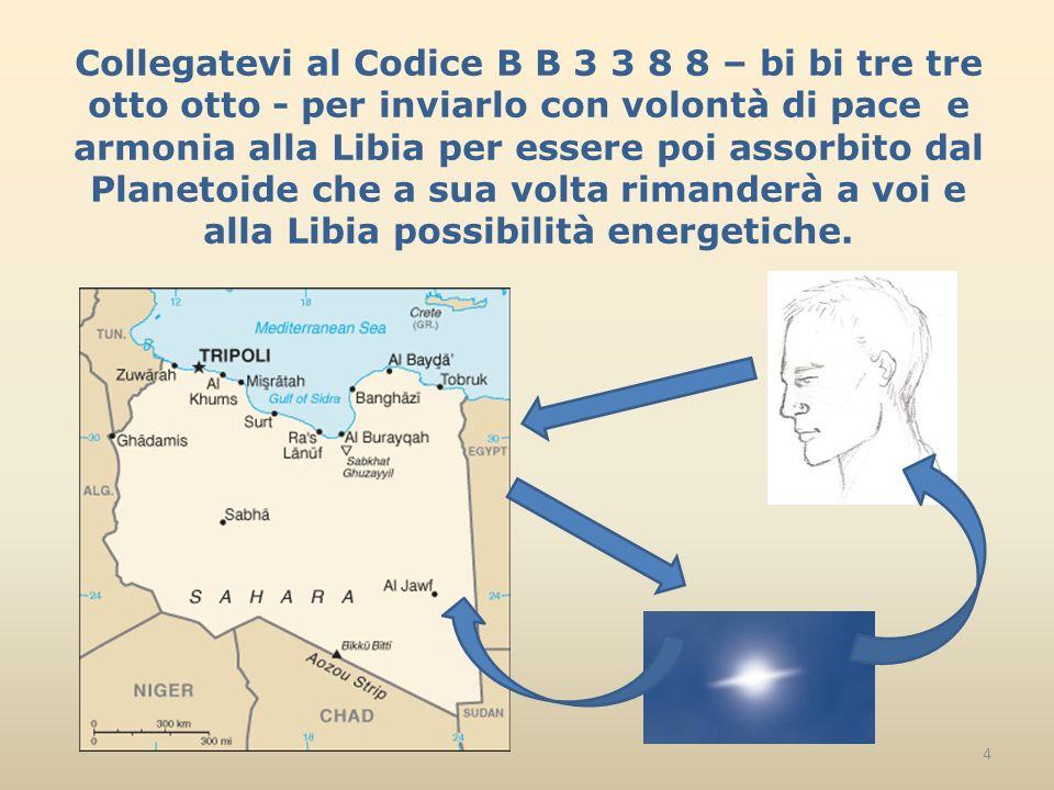 Collegatevi al Codice B B 3 3 8 8 – bi bi tre tre otto otto - per inviarlo con volontà di pace e armonia alla Libia per essere poi assorbito dal Planetoide che a sua volta rimanderà a voi e alla Libia possibilità energetiche.