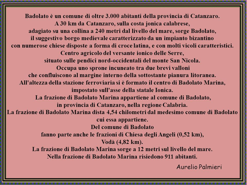 Aurelio Palmieri BADOLATO CENTRO