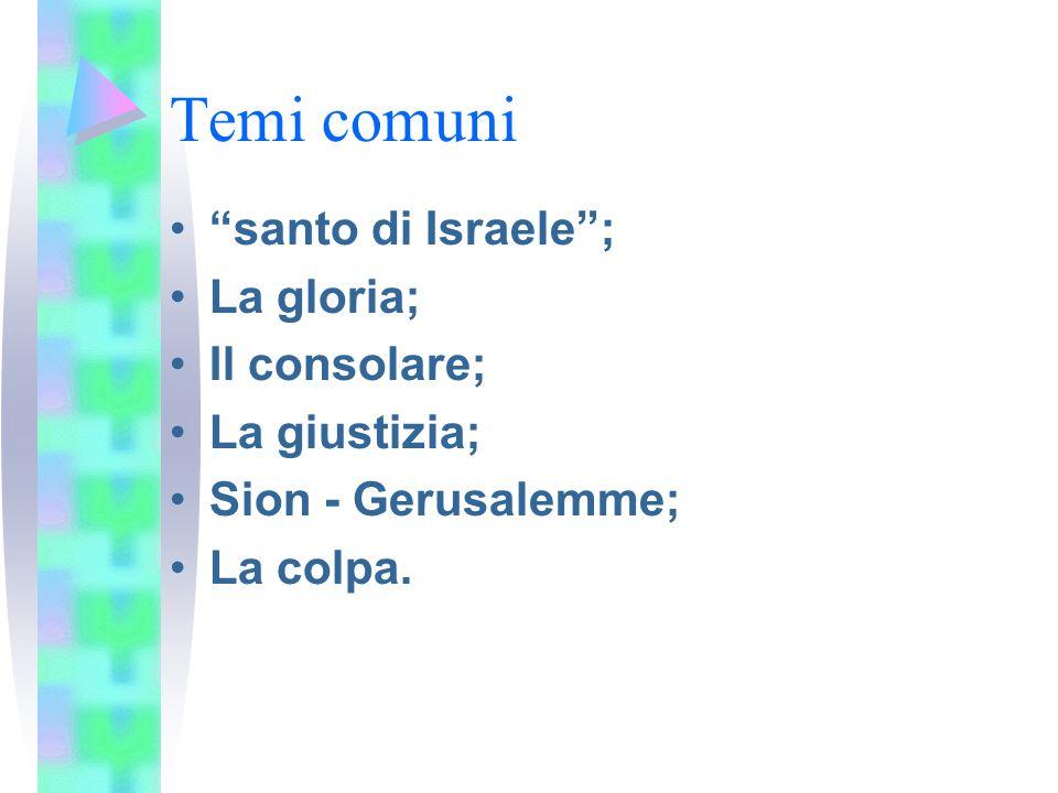 Temi comuni santo di Israele; La gloria; Il consolare; La giustizia; Sion - Gerusalemme; La colpa.