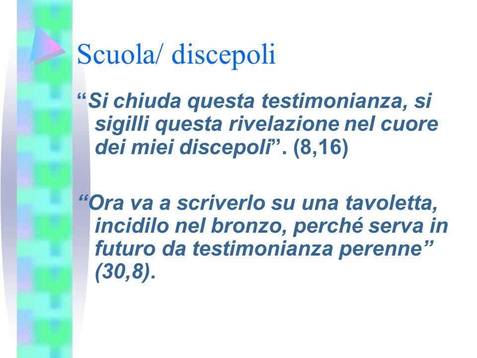 Scuola/ discepoli Si chiuda questa testimonianza, si sigilli questa rivelazione nel cuore dei miei discepoli.